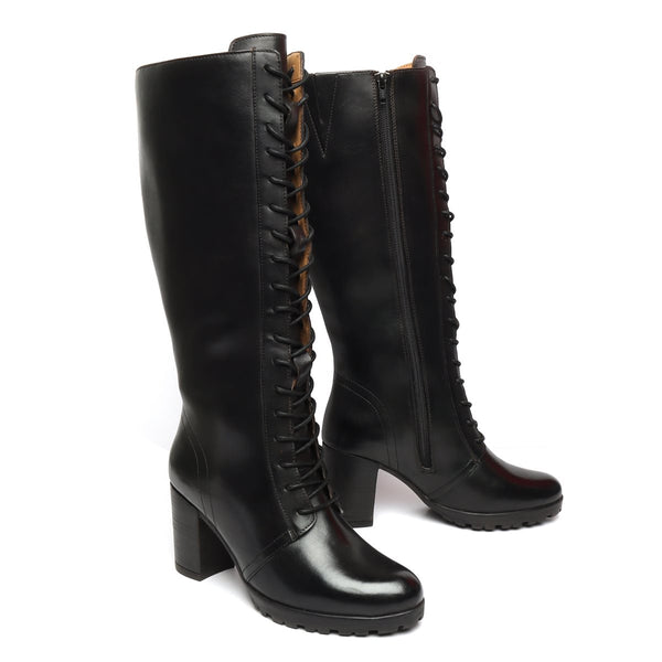 Black Leather Knee Height Full Lace Up Ladies Boots By BRUNE