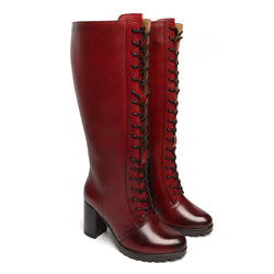 Wine Leather Knee Height Full Lace Up Ladies Boots By BRUNE