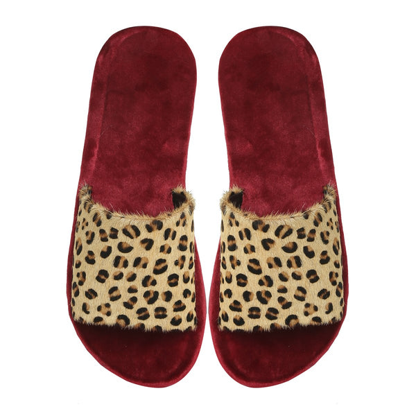 Cheetah Print Hairon Leather Strap Velvet Slide-In Slippers by BARESKIN
