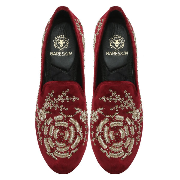 MAROON LEATHER GOLDEN ZARDOSI EMBROIDERY SLIP-ON SHOES BY BARESKIN