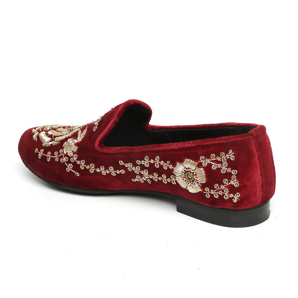 MAROON LEATHER GOLD ZARDOSI EMBROIDERY SLIP-ON SHOES BY BARESKIN
