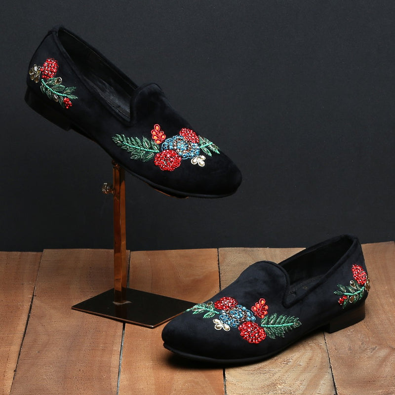 BLACK VELVET RED & GREEN ZARDOSI EMBROIDERY SLIP-ON SHOES BY BARESKIN