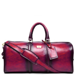 Brune Veg Tanned Pink Hand Painted Leather Duffle Bag With Golden Accent With Sid Initials