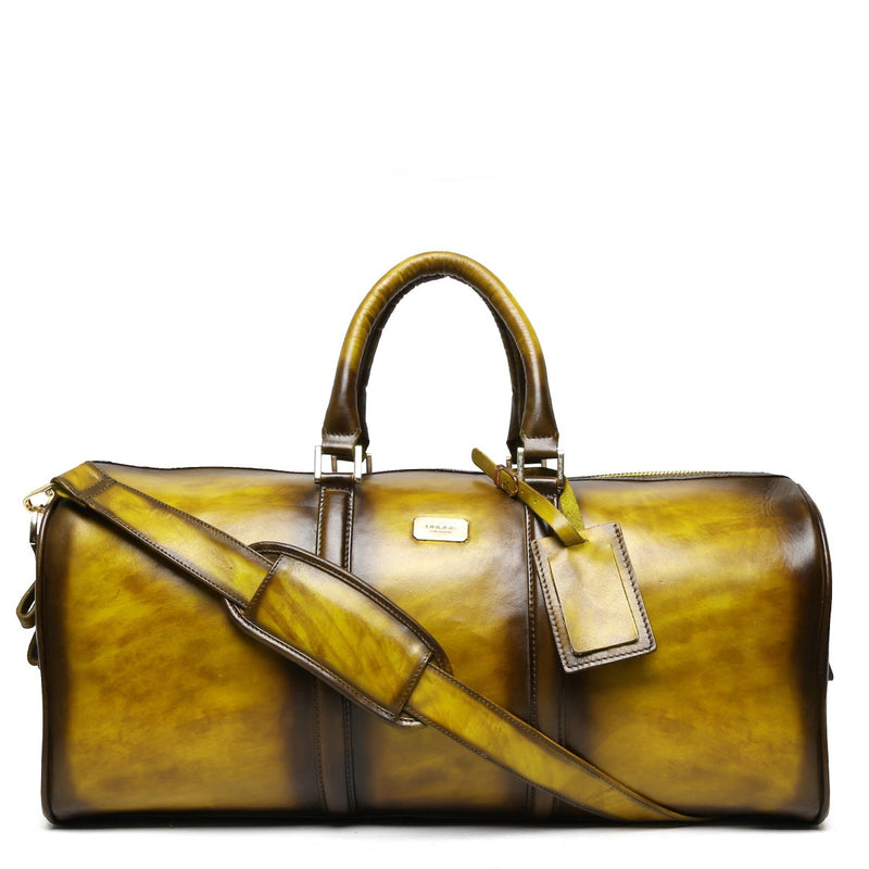 Brune Veg Tanned Olive Hand Painted Leather Duffle Bag With Golden Accent