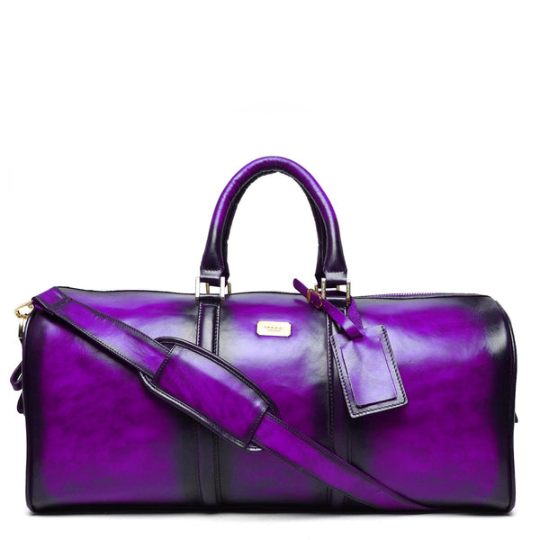 Brune Veg Tanned Purple Hand Painted Leather Duffle Bag With Golden Accent