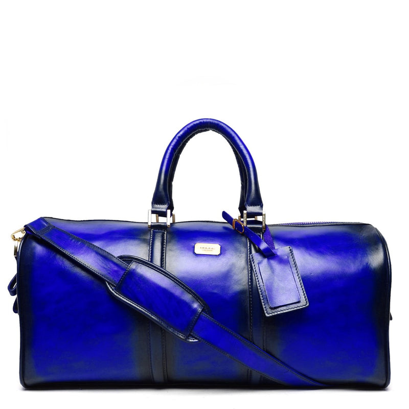 Brune Veg Tanned Blue Hand Painted Leather Duffle Bag With Golden Accent