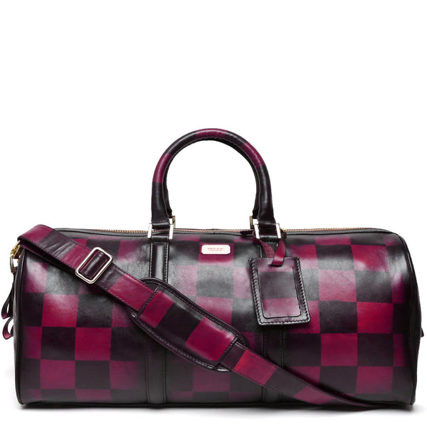 BRUNE VEG PINK LEATHER HAND PAINTED DUFFLE BAG WITH CHECK ACCENT
