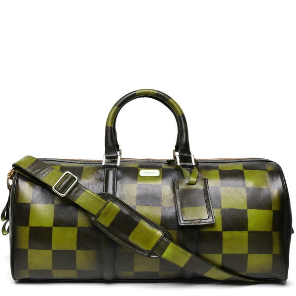 Brune Veg Olive Green Leather Hand Painted Duffle Bag With Check Accent