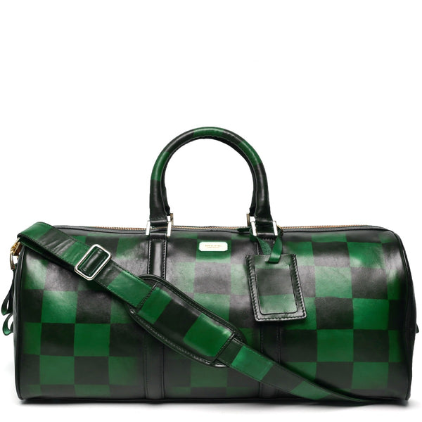 Brune Veg Green Leather Hand Painted Duffle Bag With Check Accent