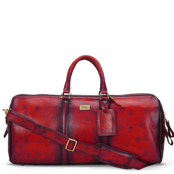 Brune Veg Wine Aesthetic Hand Painted Leather Duffle