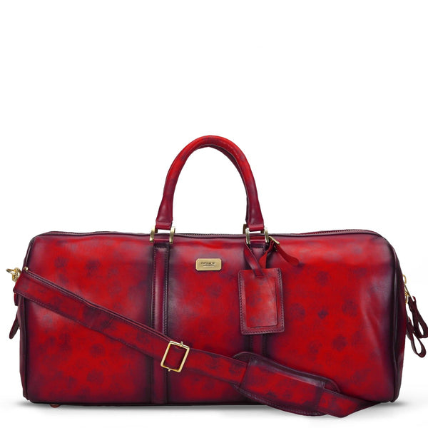 Brune Veg Red Aesthetic Hand Painted Leather Duffle