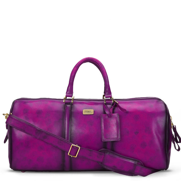 Brune Veg Purple Aesthetic Hand Painted Leather Duffle