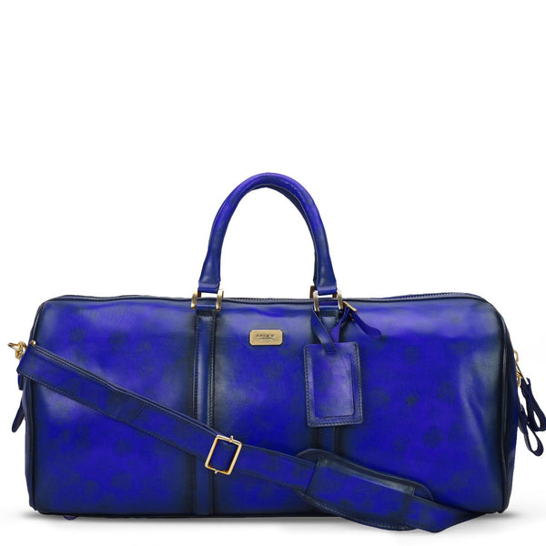 Brune Veg Blue Aesthetic Hand Painted Leather Duffle