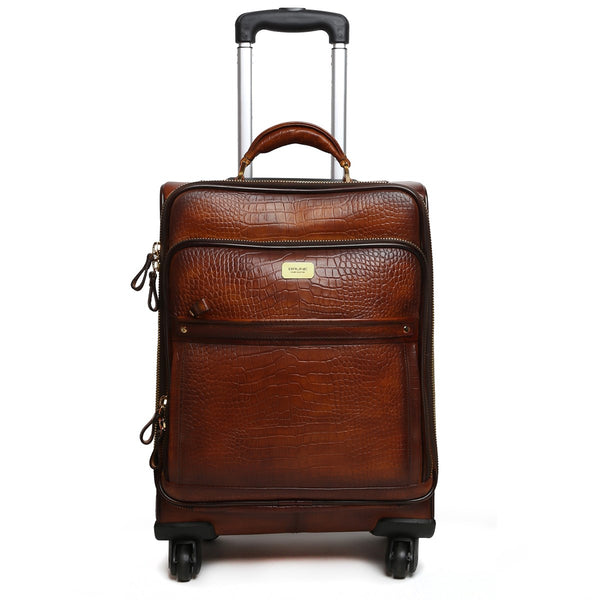 Croco Brown Quad Wheel Cabin Luggage Leather Bag With Golden Metal Zipper By BRUNE