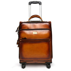Tan Quad Wheel Leather Strolley Travel Bag With Golden Zipper By Brune