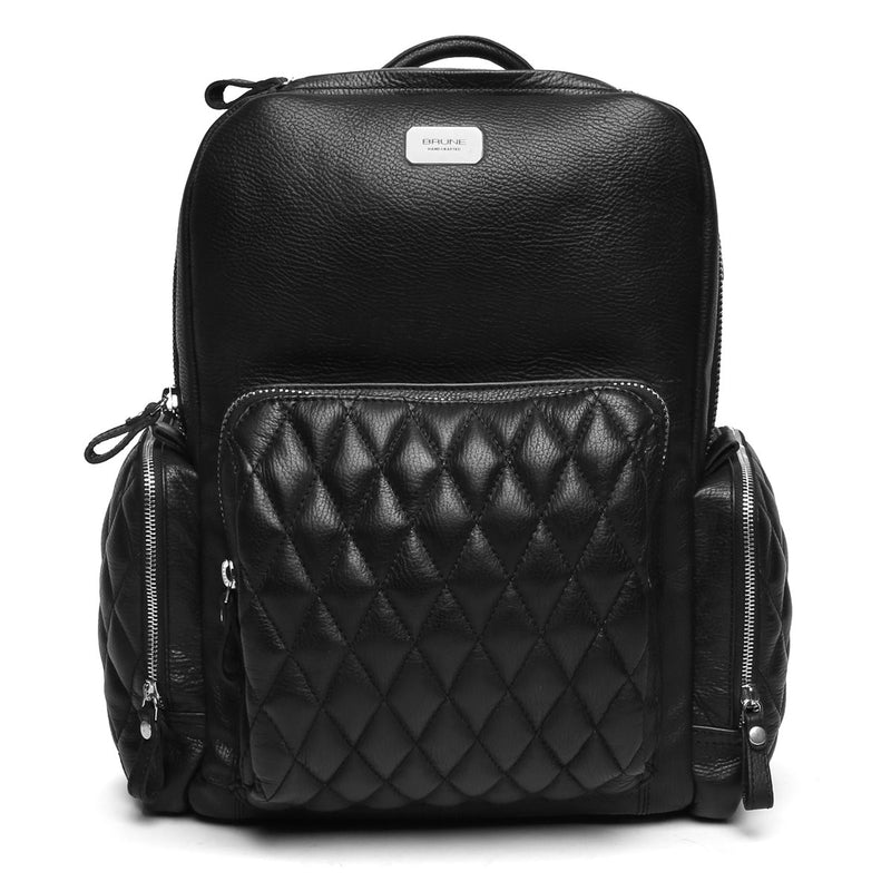 Black Leather Backpack With USB And Headphone Points By BRUNE