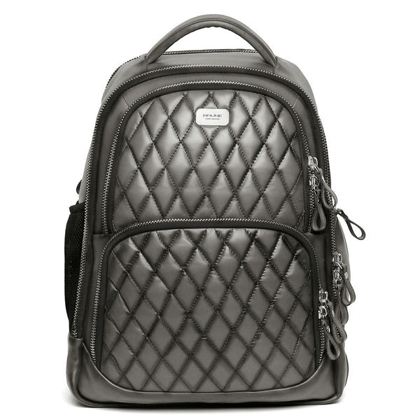 Grey Front Padded Diamond Stitched Leather Backpack By Brune