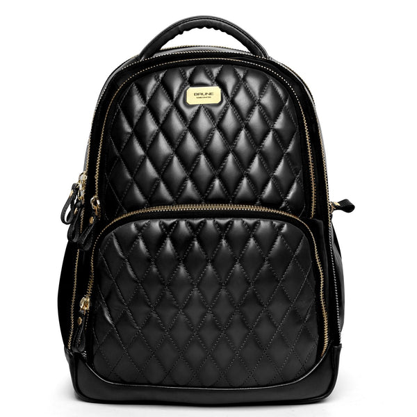 Black Front Padded Diamond Stitched Leather Backpack By Brune