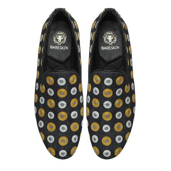 Yellow & White Polka Dots Embroidered Denim Men Slip-Ons By Bareskin