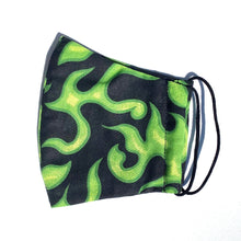 Load image into Gallery viewer, E20- Fabric mask with green flames (ears)