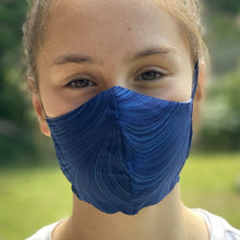 Load image into Gallery viewer, Masque vague bleue - Blue wave face mask