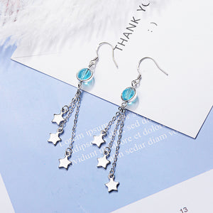 Star Crystal Long Earrings