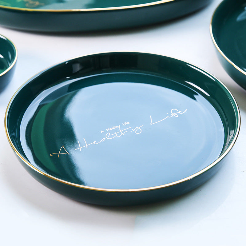 """A Healthy Life"" Round Teal with Gold-edge plating Plate"