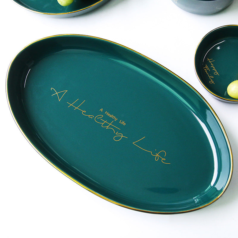"""Happy Family"" Teal Oval Platter"