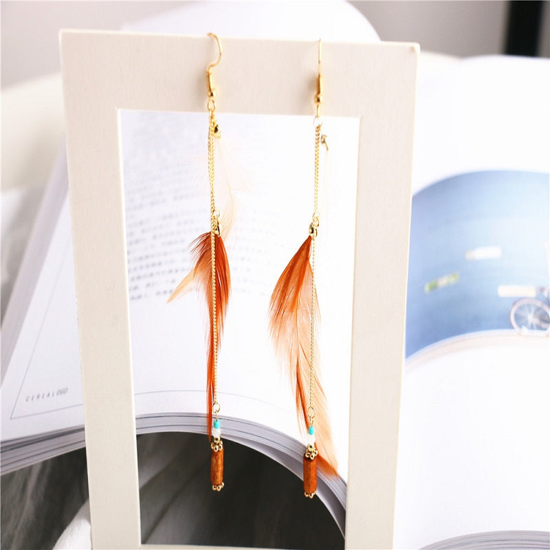 Feather and Golden Chain Earrings