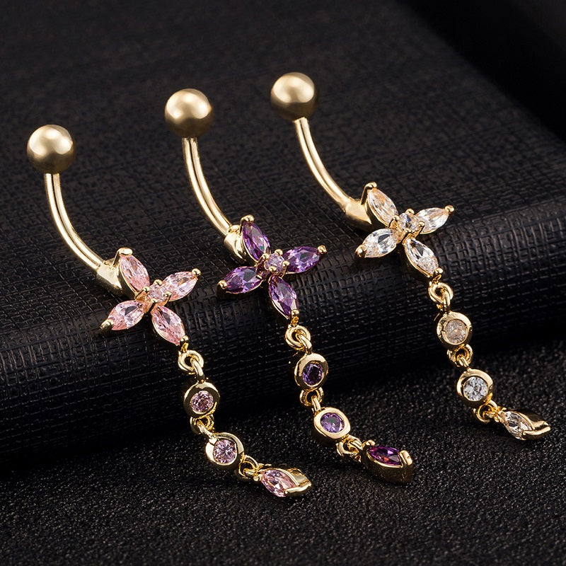 Flower and Round Crystals Navel Ring
