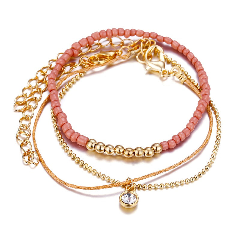Pink Beads and Golden Chain Bracelet (3 Pieces/Set)