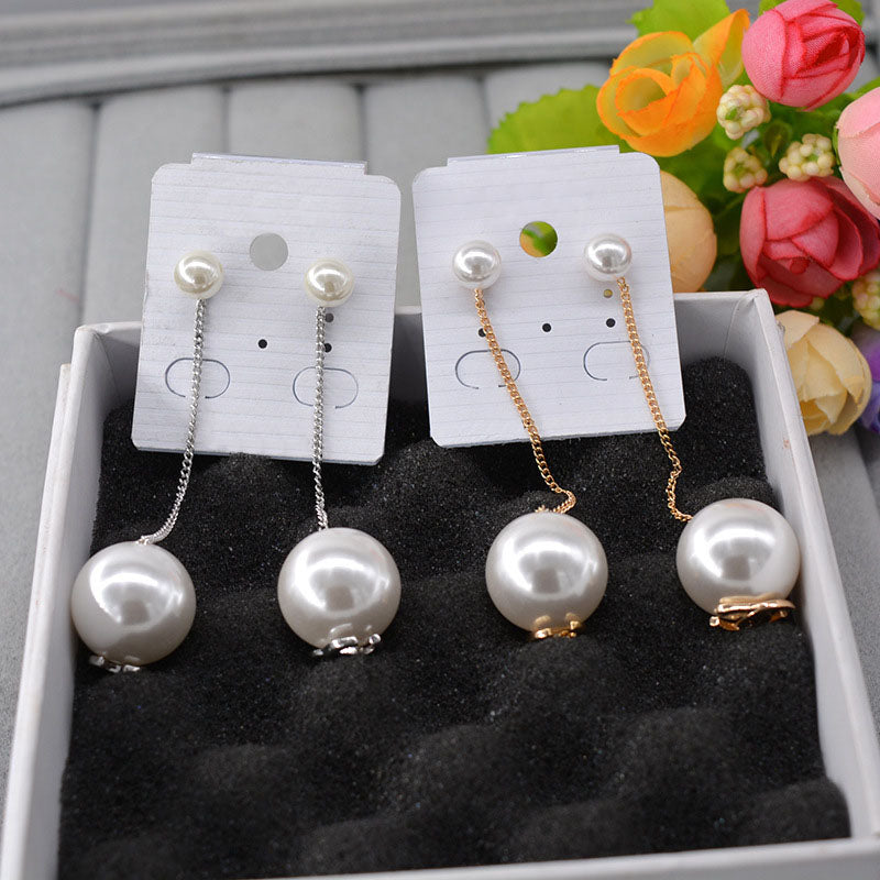 Small and Big Pearls Dangle Earrings