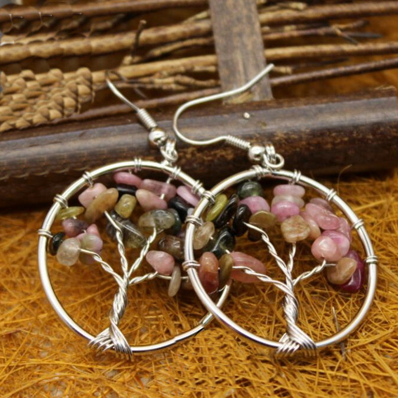 Crystals Tree of Life in Circle Dangle Earrings