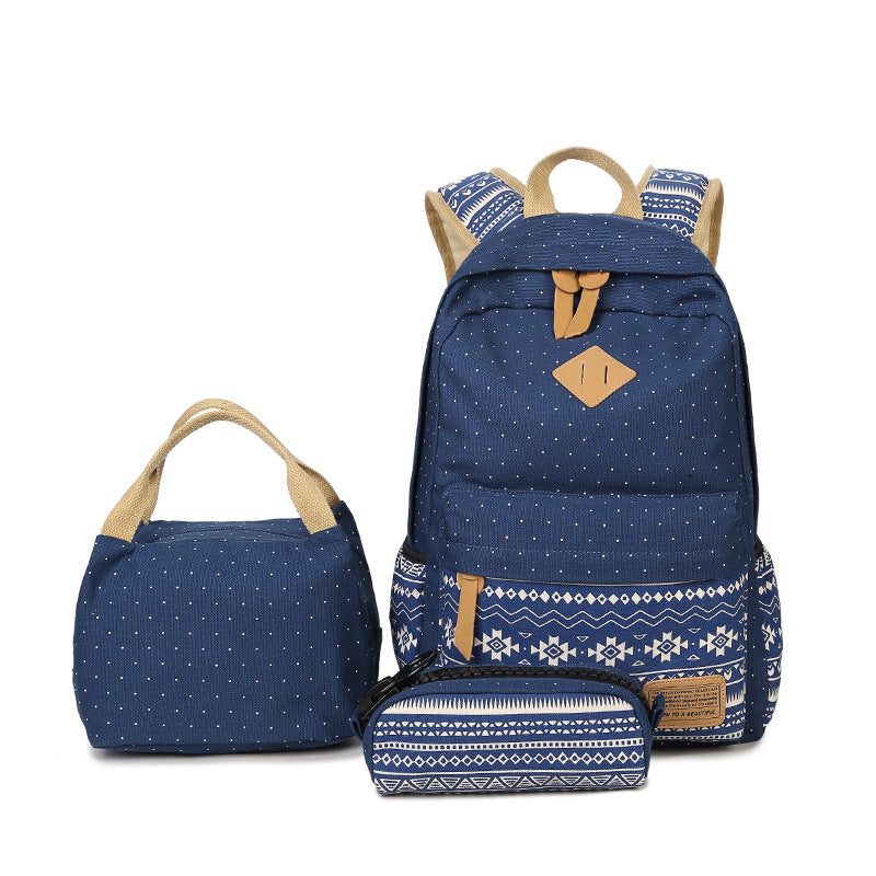 Polka Dots and Fairisle Designed 3-piece Backpack Set