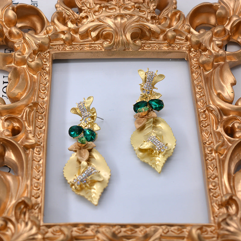 Golden Leaf with Green Beads Dangle Earrings