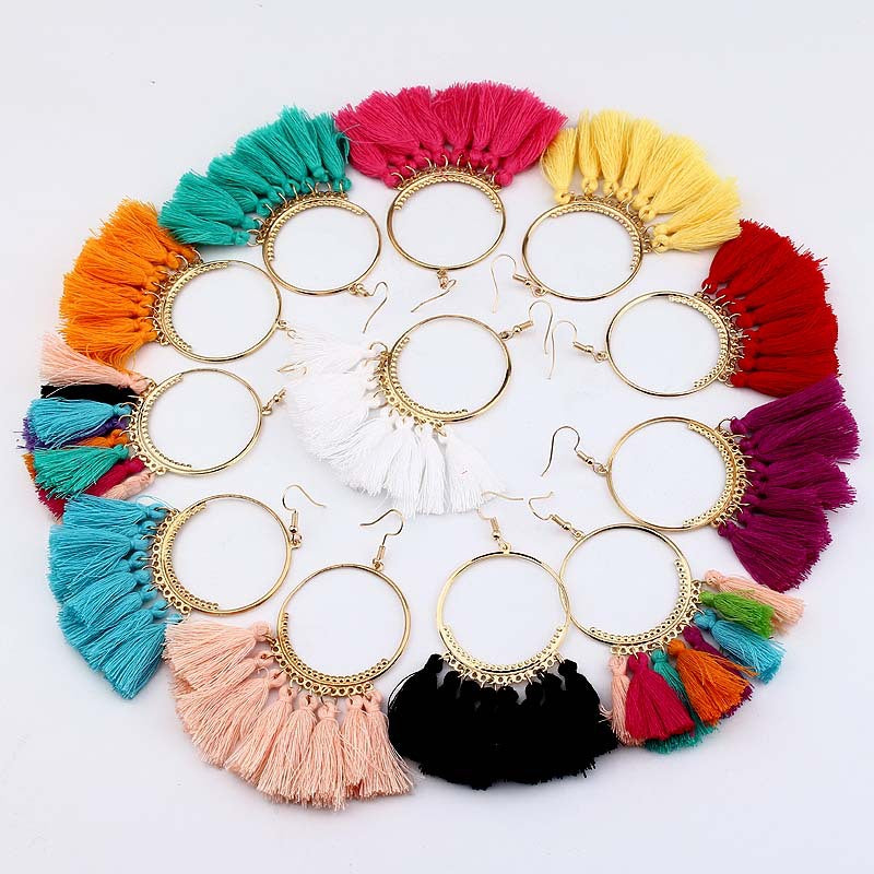 Rainbow Boho Tassel in Hoops Earrings
