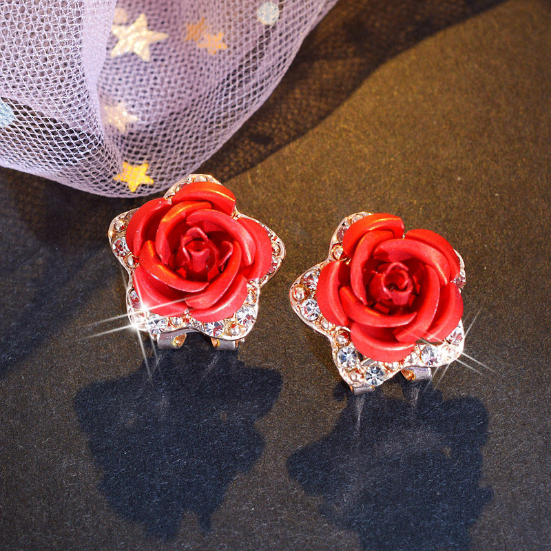 Gemstone Rose Earrings