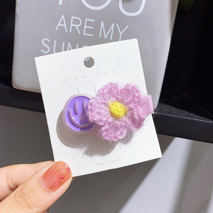 Smiley with Flower Hair Clip