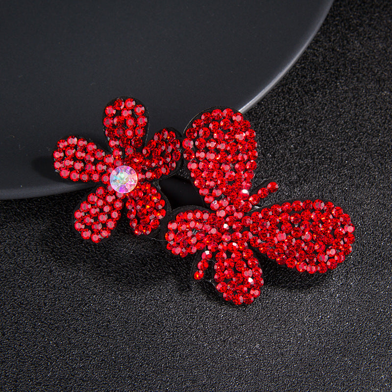 Rhinestone Butterfly and Flower Hair Clip