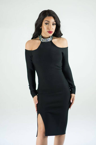 Ciara Black Bandage Dress With Choker Detail - IvyEkongFashion
