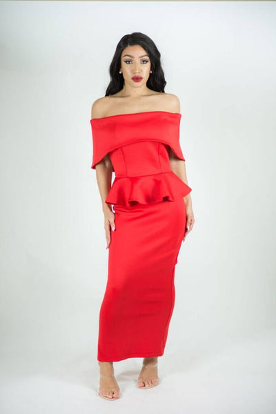 BLAIR RED OFF SHOULDER MIDI DRESS - IvyEkongFashion