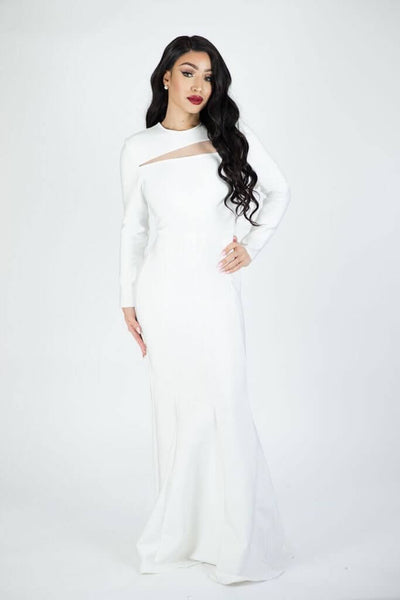 SELENA WHITE MAXI BANDAGE DRESS - IvyEkongFashion