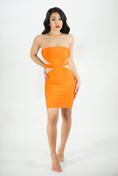 TAMY ORANGE BANDAGE DRESS WITH MESH DETAIL - IvyEkongFashion