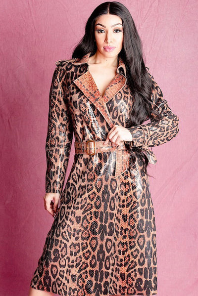 BELLE  PRINT VEGAN  TRENCH COAT - IvyEkongFashion