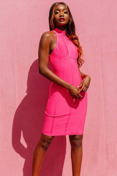 COCO PINK MIDI BANDAGE DRESS - IvyEkongFashion