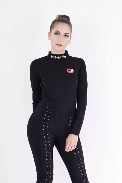 DONATELLA BLACK BODY TOP WITH RED LIPS DETAIL - IvyEkongFashion