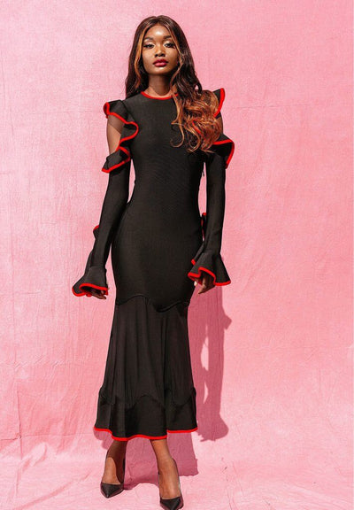 DIORE BLACK DRESS WITH RED RUFFLE DETAIL - IvyEkongFashion
