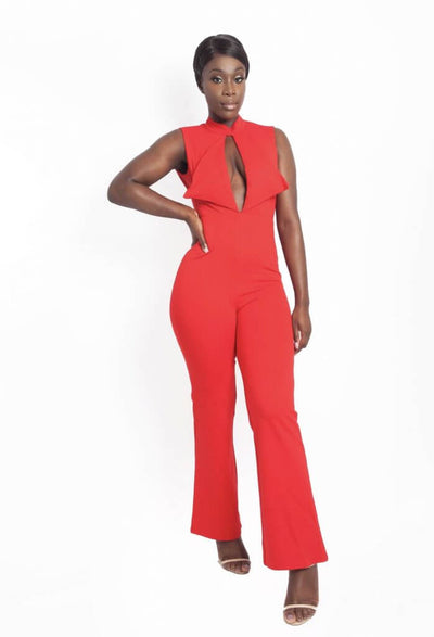 Claudia Red Open Back Jumpsuit - IvyEkongFashion