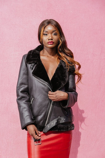 MELISSA BLACK FAUX LEATHER JACKET - IvyEkongFashion