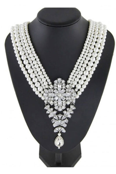 PEARL NECKLACE WITH DIAMONTE STONE - IvyEkongFashion
